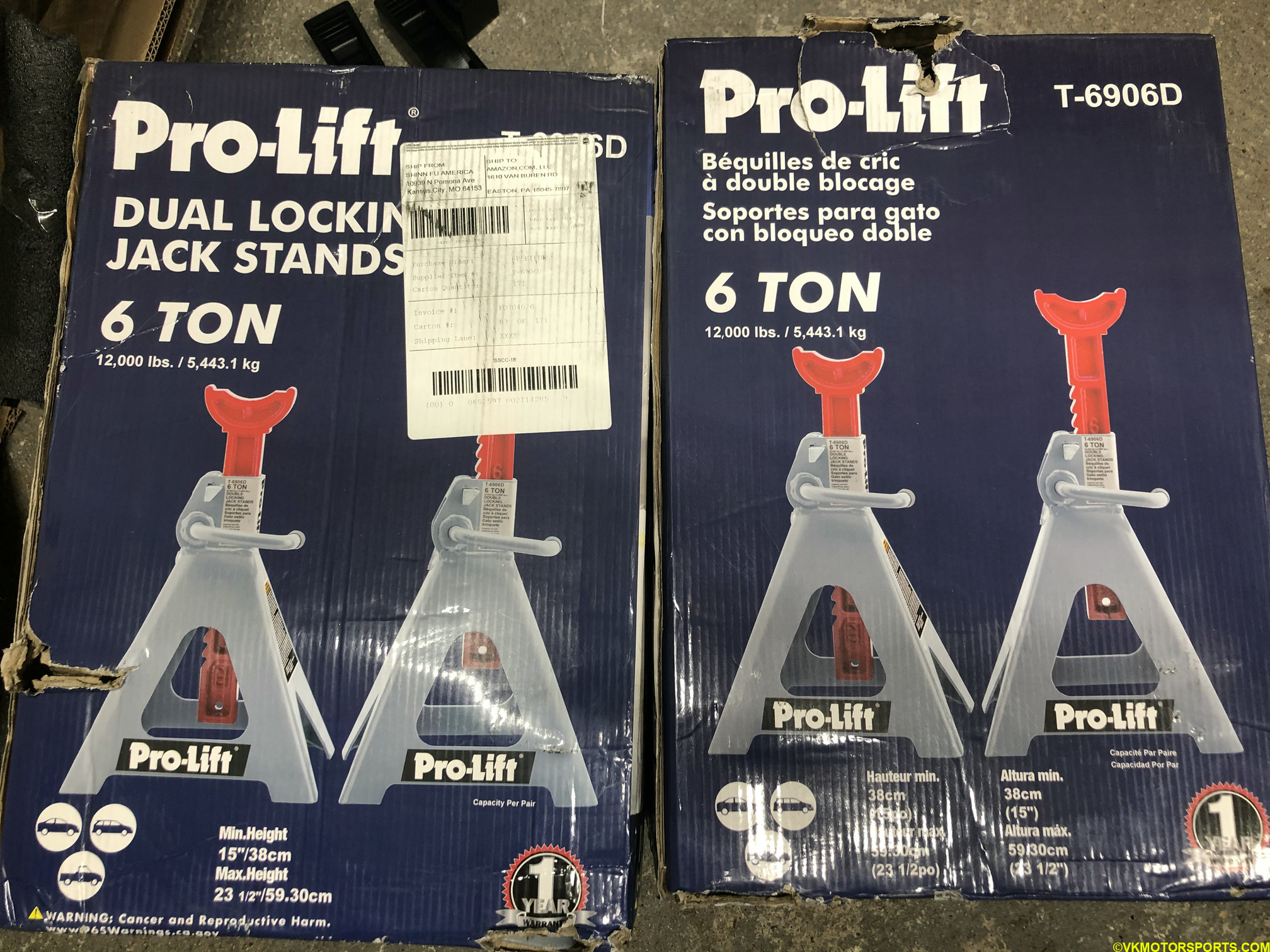 Figure 1. Two boxes of 6-ton jack stands